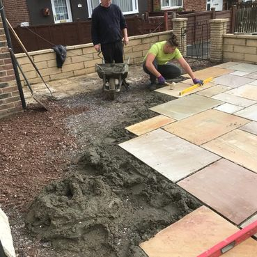New patio being laid